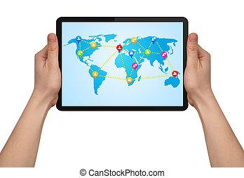 karta, räcka lämna, social, touchpad, nymodig, manlig