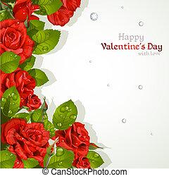 karta, róże, czerwony, valentine`s dzień