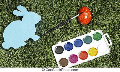 karta ręka, to jest, królik, pędzel, malarstwo, red., jajko