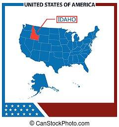 karta, ram, amerikan flagga, idaho