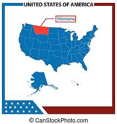karta, ram, amerikan flagga, montana