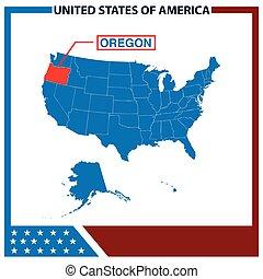 karta, ram, amerikan flagga, oregon