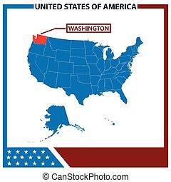 karta, ram, amerikan, washington flagg