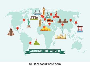 karta, resa, illustration, vektor, värld, milstolpar