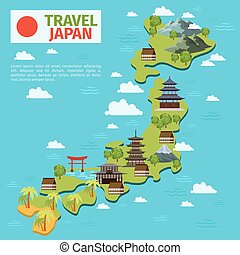 karta, resa, japansk, traditionell, vektor, japan, milstolpar