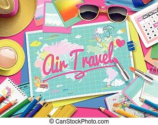 karta, resa, luft