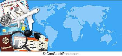 karta, resa, objekt, airplane, värld