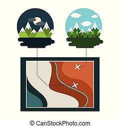 karta, resa, semester, natt, morgon, mountains, träd