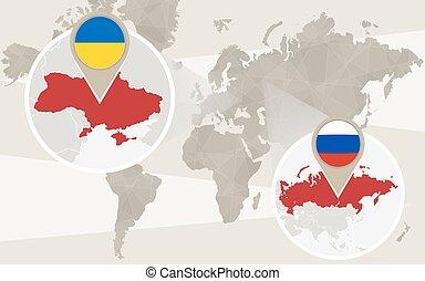 karta, ryssland, zoom, värld, ukraina