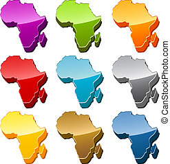 karta, sätta, afrika, ikon