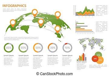 karta, sätta, elementara, infographics, värld, 3