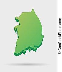 karta, södra korea, ikon