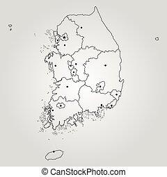 karta, södra korea