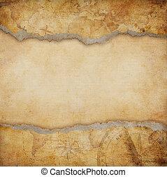 karta, sönderrivet, gammal, bakgrund