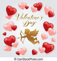 karta, serca, dzień, amorek, valentine