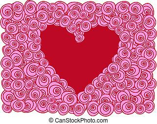 karta, serce, róże, powitanie, czerwony