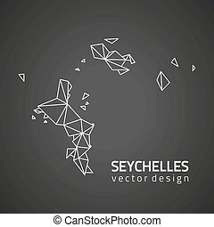 karta, seychellerna, vektor, svart, perspektiv, kontur