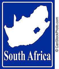 karta, silhuett, afrika, syd