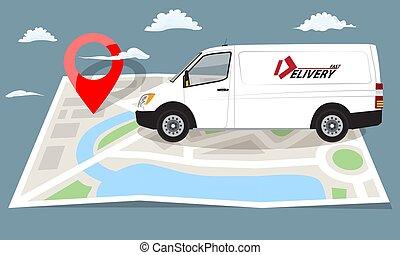 karta, skåpbil, pin., lägenhet, över, hoplagd, vektor, vit röd, illustration.