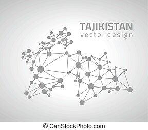 karta, skissera, grå, vektor, perspektiv, tajikistan