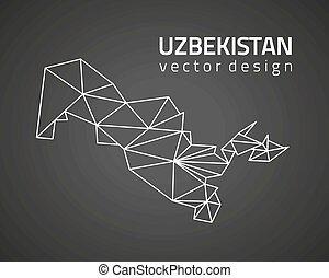 karta, skissera, uzbekistan, vektor, svart, perspektiv