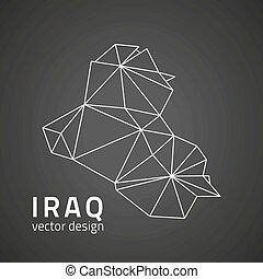 karta, skissera, vektor, svart, perspektiv, irak