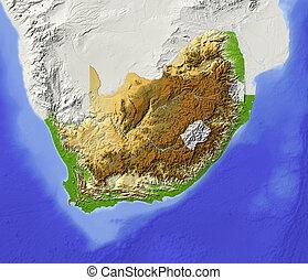 karta, skuggat, afrika, syd, lättnad