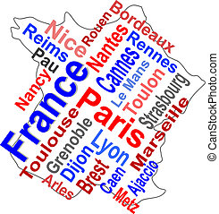 karta, större, frankrike, ord, städer, moln