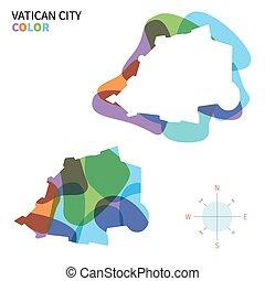karta, stad färga, abstrakt, vektor, vatikanen