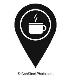 karta stift, lokalisering, med, te, eller, kaffe kopp, underteckna, ikon