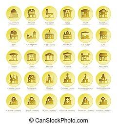 karta, stil, lägenhet, vektor, iconset, navigation