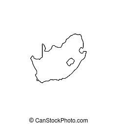 karta, stil, skissera, afrika, ikon, syd