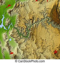 karta, storslagen, lättnad, kanjon, skuggat