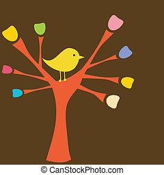 karta, strom, pozdrav, filiálka, ptáček