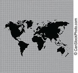 karta, svart, värld