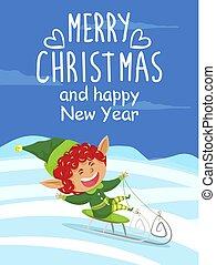karta, szczęśliwe boże narodzenie, wesoły, rok, nowy, elf