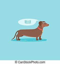 karta, szczęśliwy, pies, szablon, rysunek