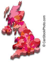 karta, tillstånd, england
