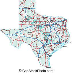karta, tillstånd, texas, väg
