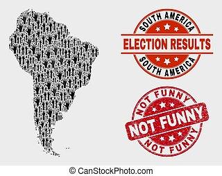 karta, trångmål, rolig, collage, stämpel, försegla, inte, amerika, valsedel, syd