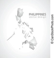 karta, triangel, filippinerna, grå, perspektiv, mosaik
