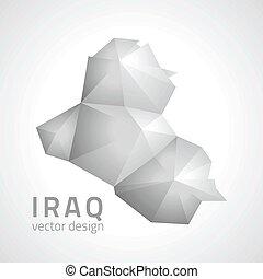 karta, triangel, grå, perspektiv, irak, mosaik