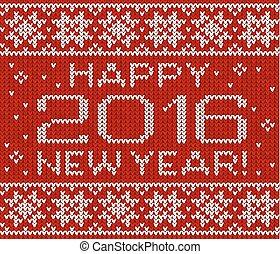 karta, trykotowy, nowy rok, powitanie, 2016, szczęśliwy
