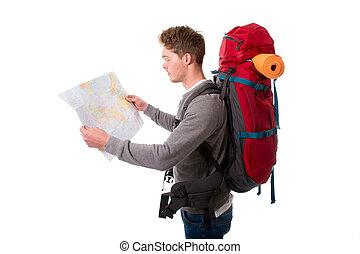 karta, turist, stor, ungt se, backpacker, bärande, attraktiv, bac