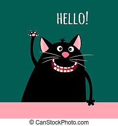 karta, uśmiechanie się, powitanie, rysunek, kot