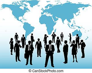 karta, upptaget, affärsfolk, koppla samman, värld under
