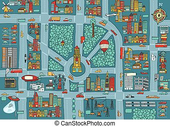 karta, upptaget, komplex, stad