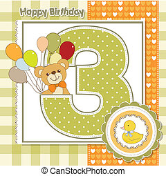 karta, urodziny, rocznica, trzeci