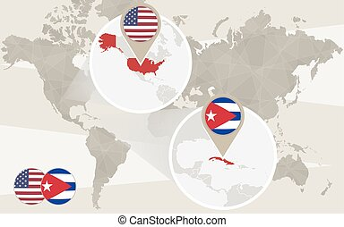 karta, usa, zoom, värld, kuba
