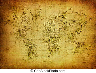 karta, värld, forntida